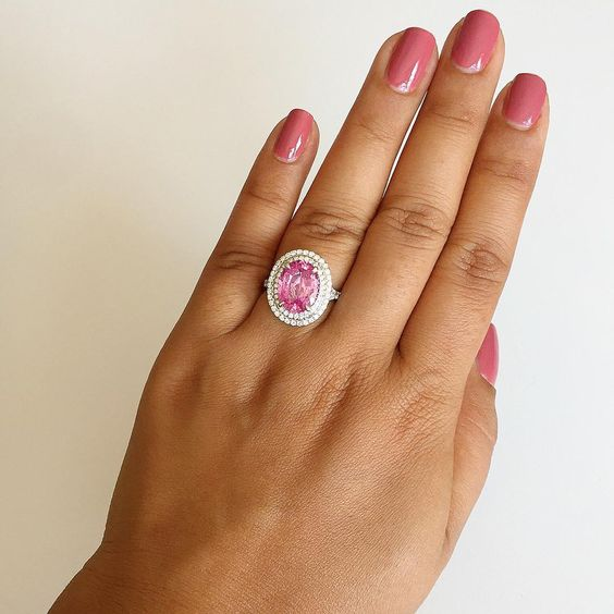 Sumuduni gems pink sapphire engagement ring