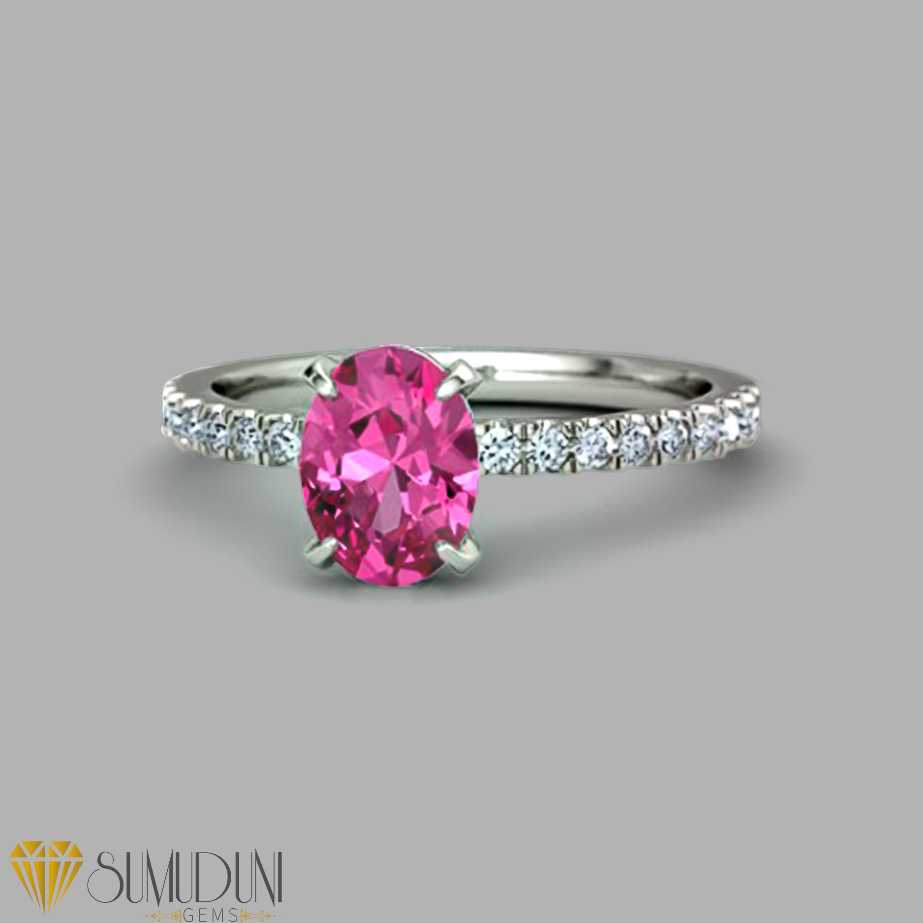 2 carat oval pink sapphire engagement ring