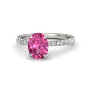 oval pink sapphire diamond engagement ring white gold (2)