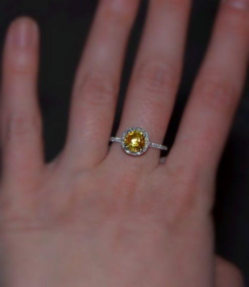 Round yellow sapphire engagement ring
