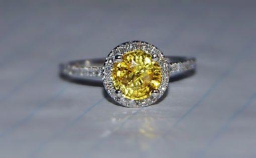 round yellow sapphire ring _Sumuduni Gems