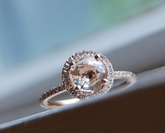 Peach sapphire round halo engagement ring sumuduni gems round halo engagement ringsumuduni gems junglespirit Images