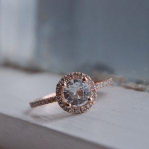 Ceylon white sapphire round halo engagement ring
