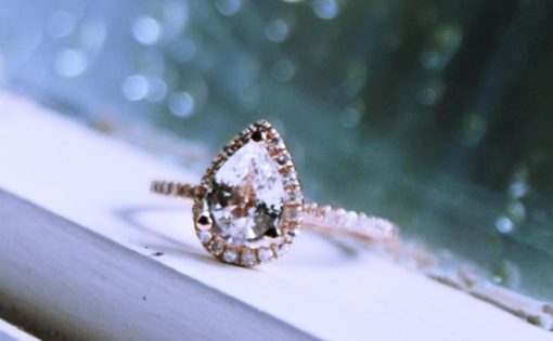 Pear shaped rose gold engagement rings