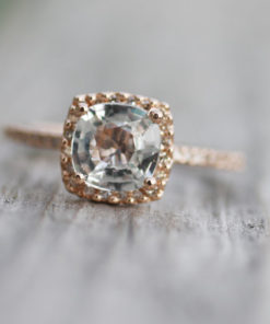 Rose Gold White Sapphire Engagement Ring