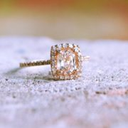 Champagne yellow sapphire engagement ring 14 k white gold peach pink cushion sapphire diamond halo rose gold engagement ring junglespirit Images