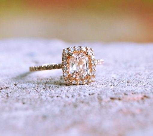 peach pink cushion sapphire diamond halo rose gold engagement ring