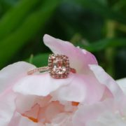 Rose gold peach sapphire engagement rings