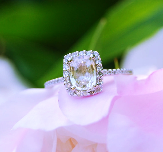 Champagne yellow sapphire engagement ring 14 k white gold champagne yellow sapphire engagement ring junglespirit Images