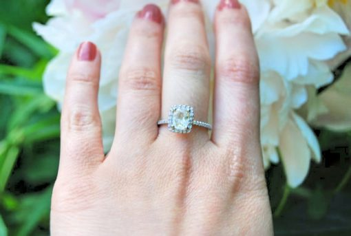 rose gold white sapphire ring