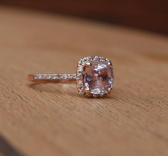 peach pink cushion sapphire diamond engagement ring