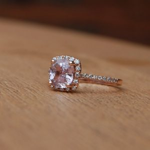 peach pink cushion sapphire diamond engagement ring