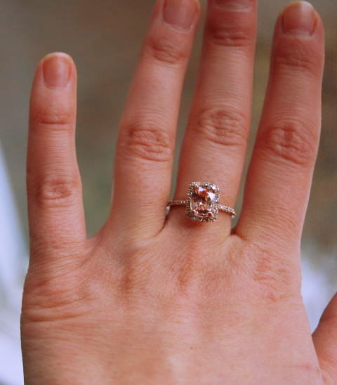 peach sapphire rings in rose gold