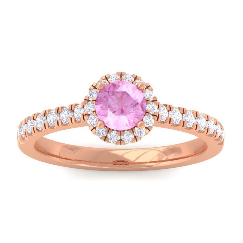pink sapphire rose gold Halo engagement ring_sumuduni gems