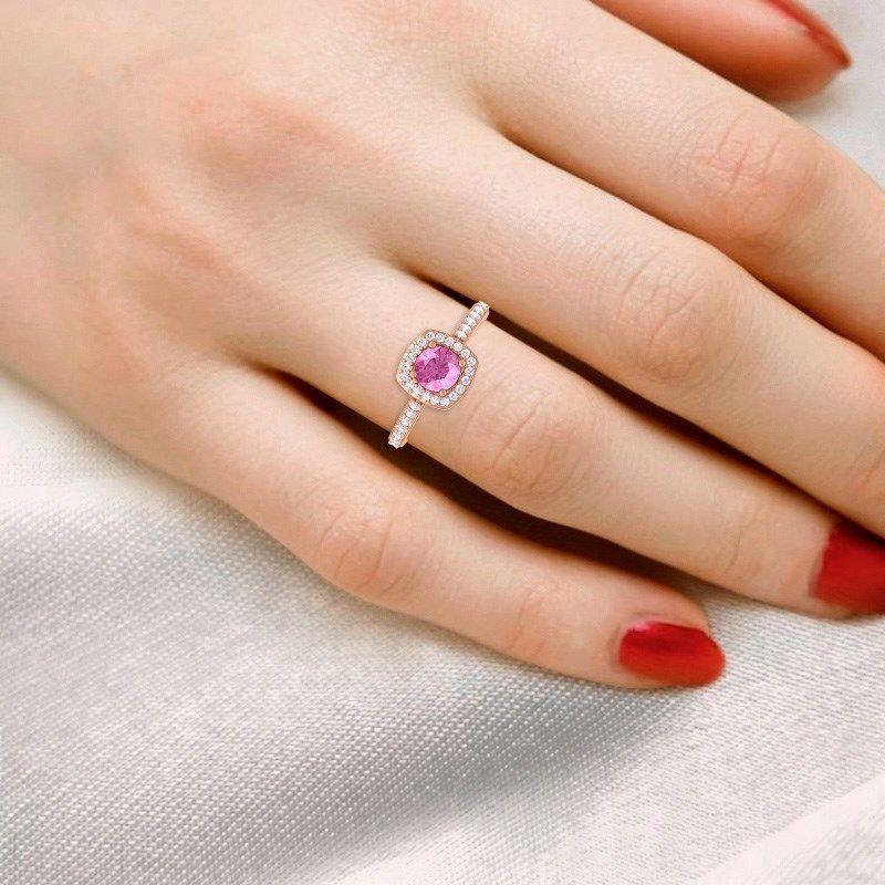 natural pink sapphire rose gold Halo engagement ring_sumuduni gems