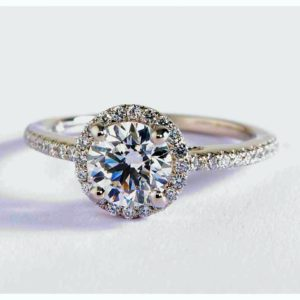 Classic Halo white sapphire Engagement Ring