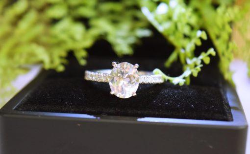 White sapphire engagement ring white gold