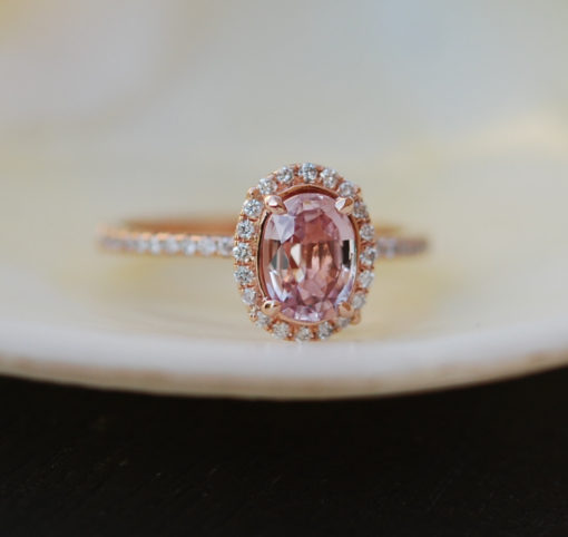 Peach Pink Sapphire Ring