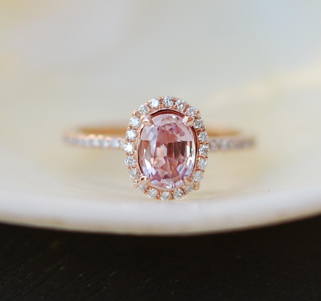 Peach sapphire and diamond engagement ring peach pink sapphire ring junglespirit Choice Image