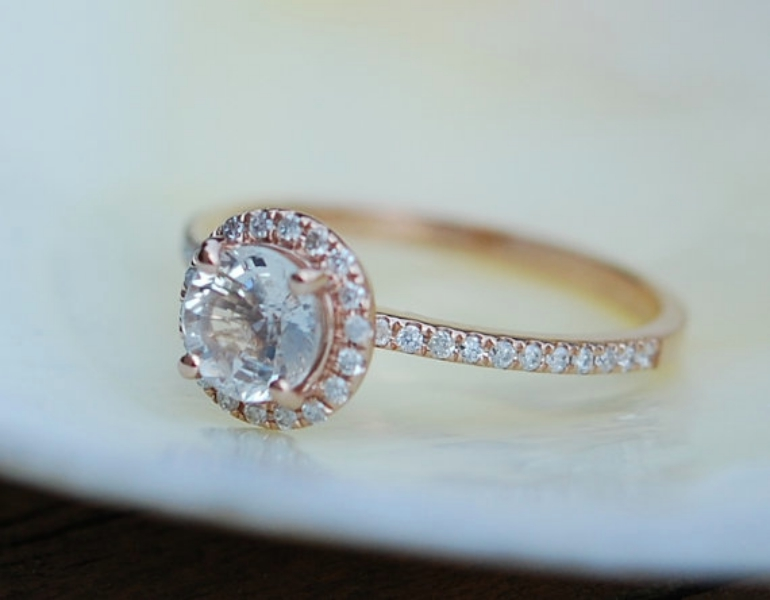 Round rose gold engagement ring simple
