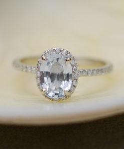 White Sapphire Ring White Gold Engagement Ring