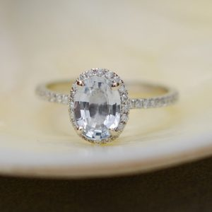 White Sapphire Ring White Gold Engagement Ring