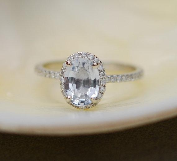 2 Carat White Sapphire Engagement Ring Handmade Custom Ring