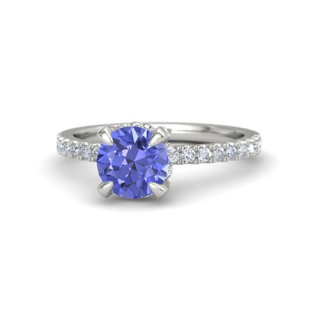 Blue sapphire & diamond ring white gold