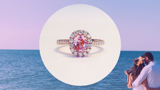peach pink sapphire engagement ring