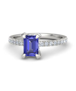 emerald cut diamond blue sapphire ring