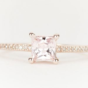 Peach Pink Fancy Sapphire Diamond 14K Rose Gold Engagement Ring