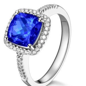 buy blue sapphire & diamond ring 18kt white gold