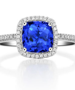 blue sapphire & diamond ring 18kt white gold