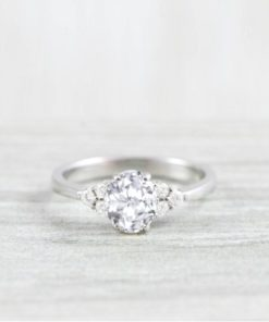 1 carat white sapphire engagement ring