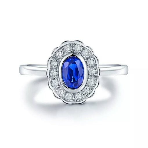 1 carat vintage blue sapphire ring white gold
