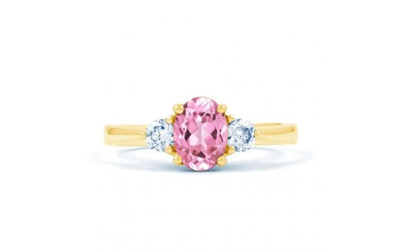 three stone pink sapphire engagement ring