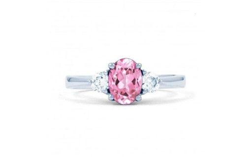 three stone pink sapphire diamond engagement ring