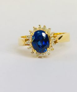 Princess Diana blue sapphire ring diamond oval