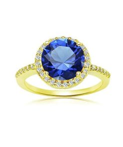 Round blue sapphire ring gold