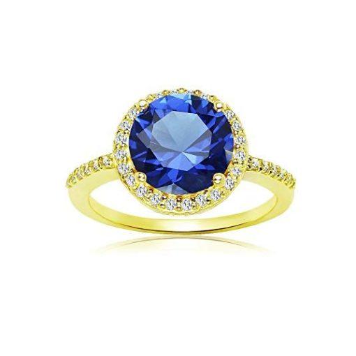 Round blue sapphire ring gold